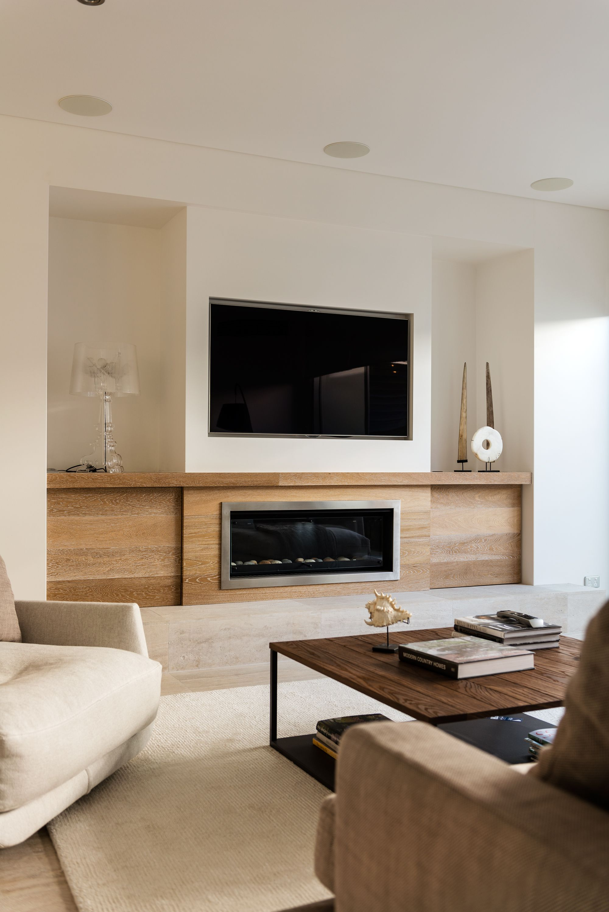 Built in cabinets contemporary living room lucy and company - Contemporary Fireplace Flat Screen Combination More