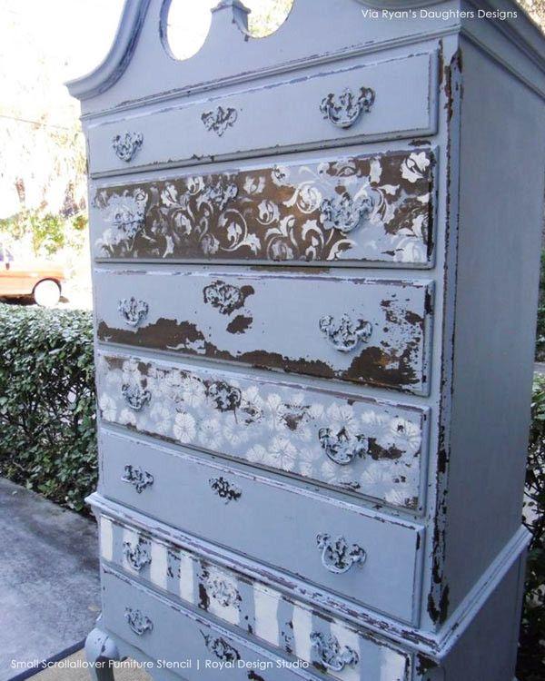 scrollallover furniture stencil | stencil dresser and chalk paint