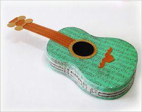 Eu Amo Artesanato: Violão de papel com molde