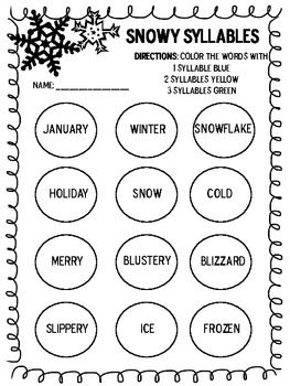 Winter Themed Syllable Practice | Syllable, Winter reading activities,  Syllable sort