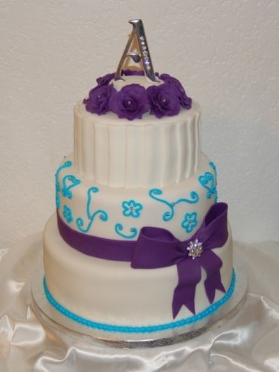 Purple And Turquoise Wedding Cake By Shastalove On Cakecentral