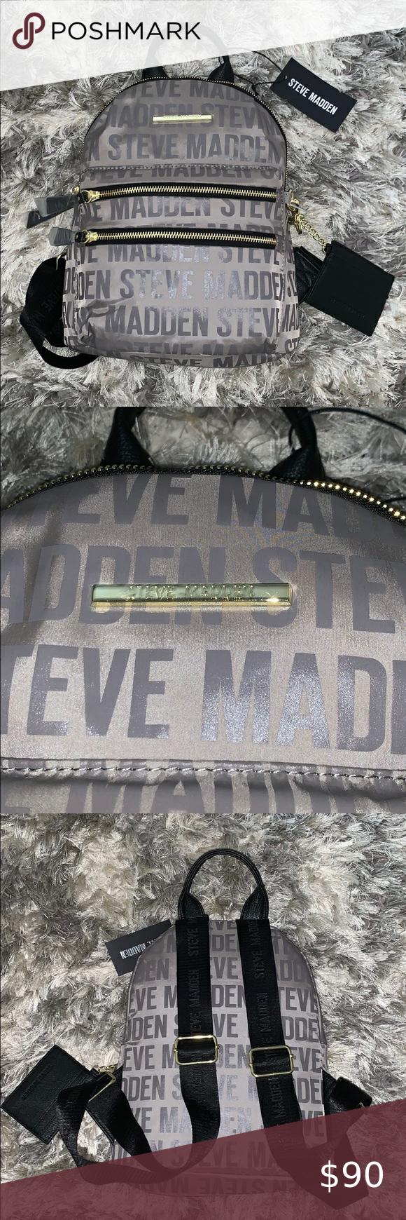Steve Madden Grey Logo Backpack Purse Backpack Purse Steve Madden Purses