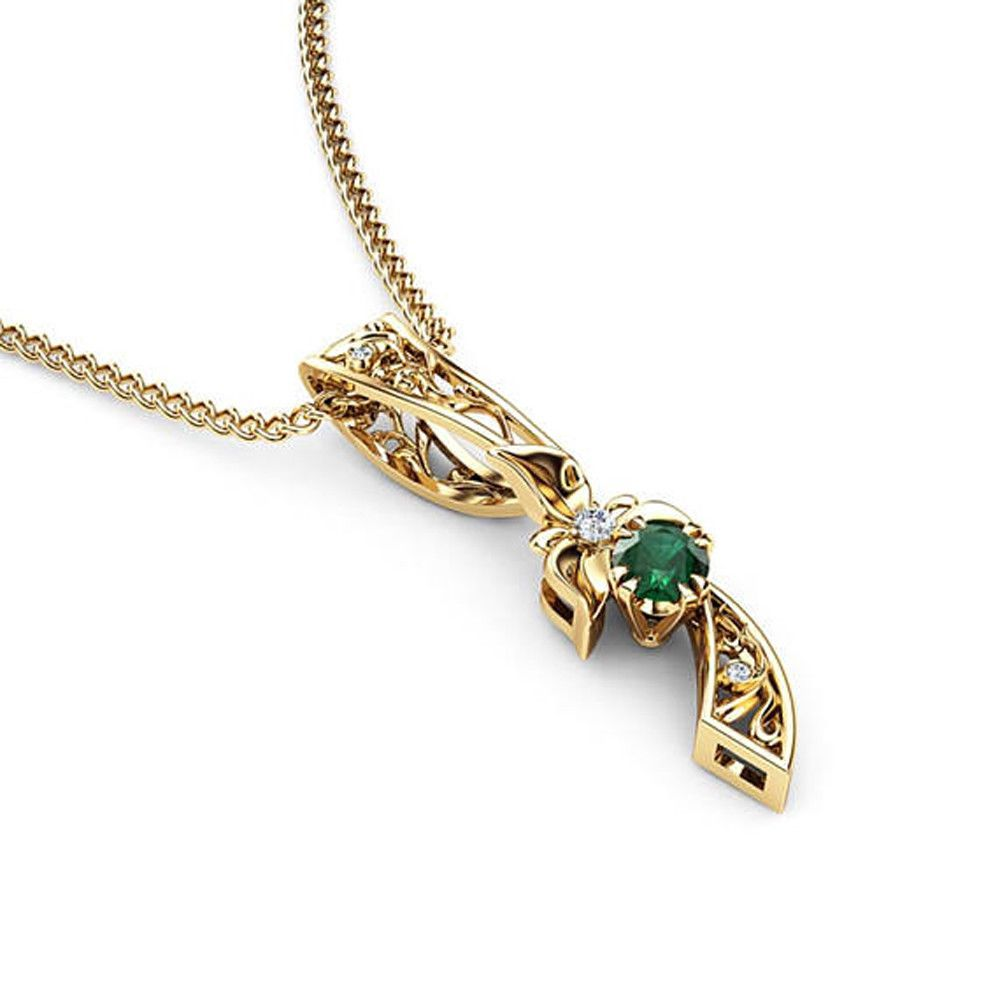 emerald diamond yard products chain pendant by natural