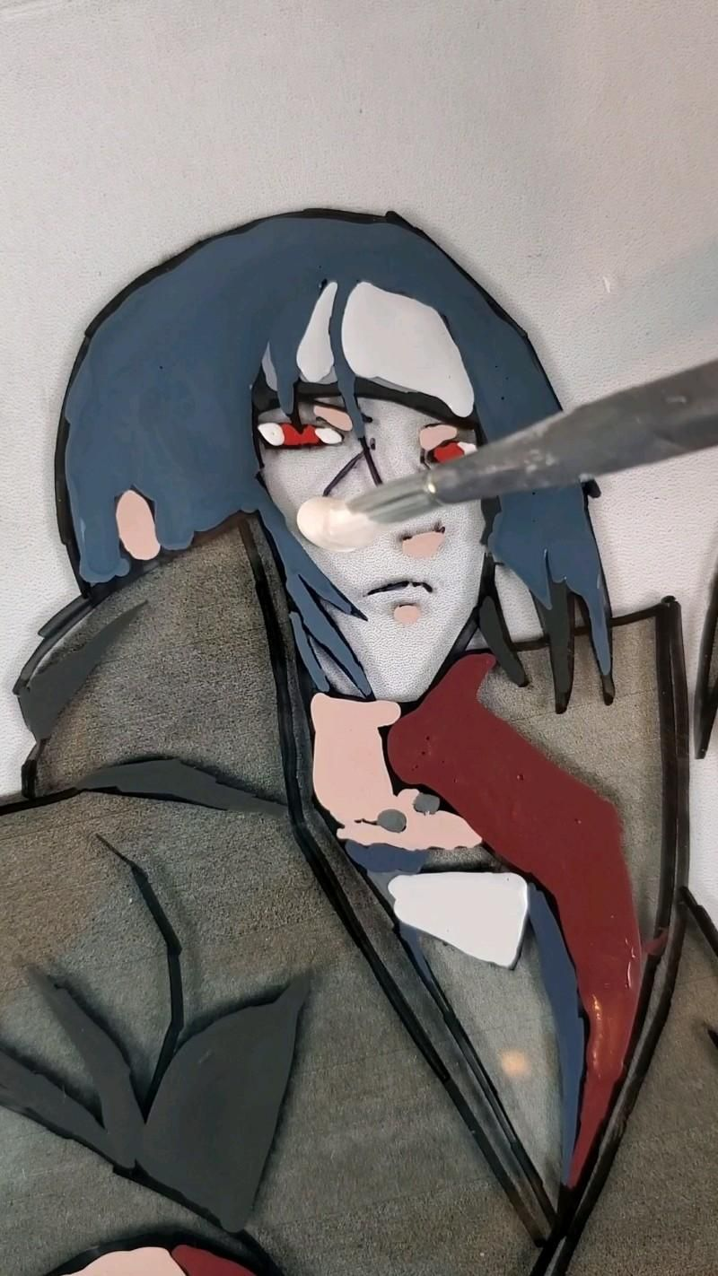 Itachi, Sasuke and Sadara Custom Glass Painting