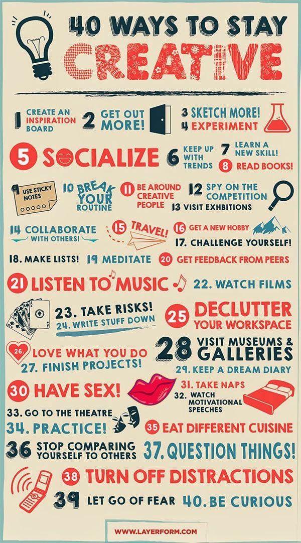 40 TRUCCHI PER TENERE SEMPRE ACCESO IL TUO SPIRITO CREATIVO #creatività