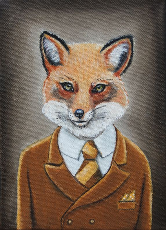 """Fantastic Fox"" SOLD  5x7 oil on canvas Wes Anderson"