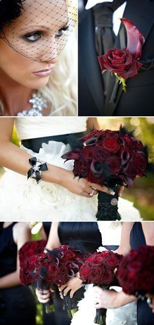 Red And Black Dramatic Gothic Themed Wedding La Kristin Banta Miki