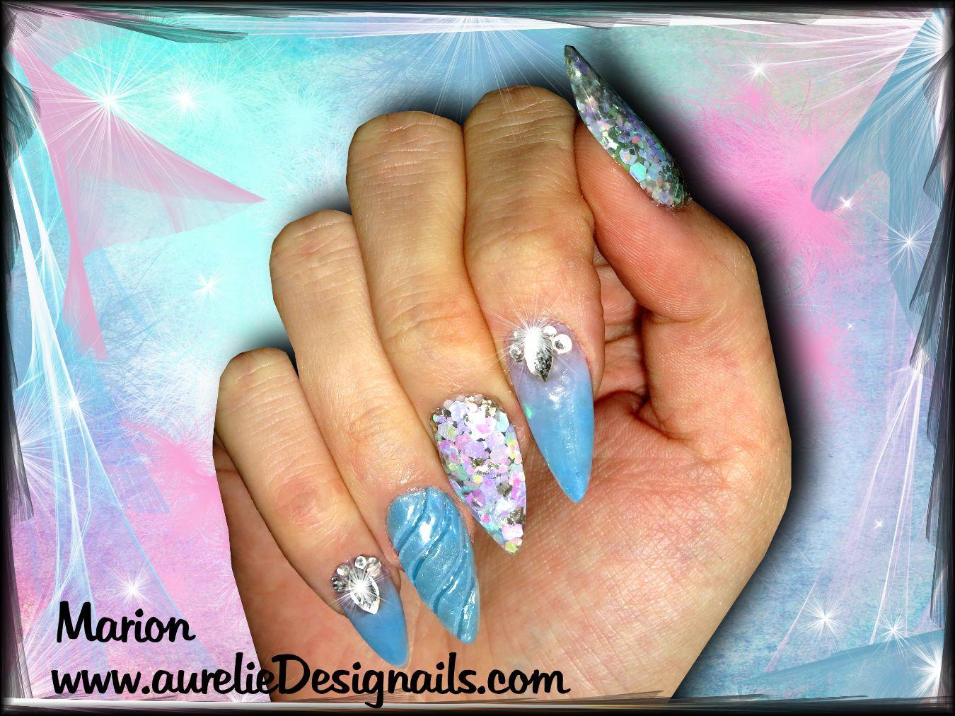 Faux Ongles En Résine Bleue Pastelle Paillettes Effet