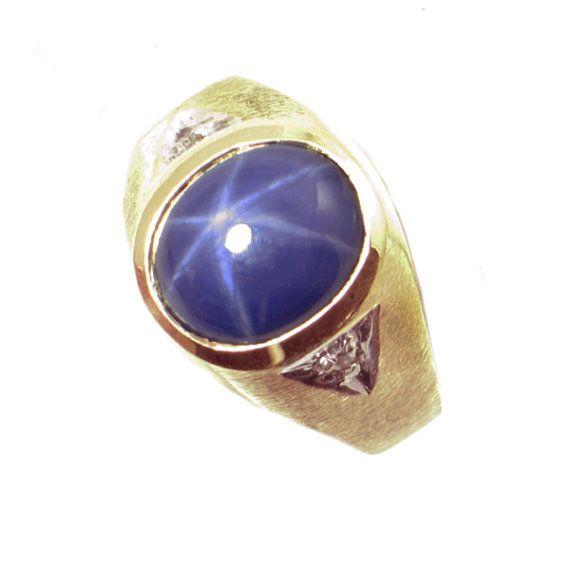 Vintage Men 39 S Star Sapphire Ring In 10k Gold With Diamond Accents 10k Gold Men 39 S Ring With Star Sapphi Star Sapphire Ring Rings For Men Star Sapphire