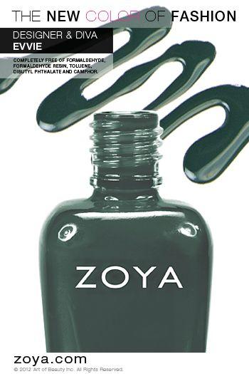 Zoya Nail Polish in Evvie from the NYFW 2012 Designer Collection www.zoya.com/content/38/item/Zoya/Zoya-Nail-Polish-Evvie-ZP630.html?O=PN121001MO13231