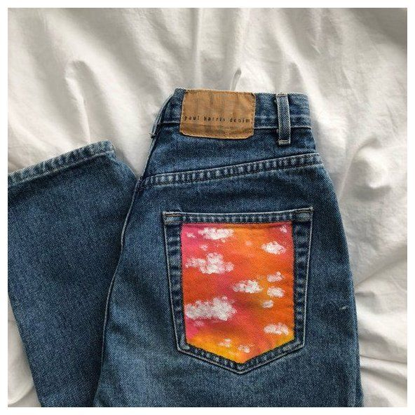 Items similar to Painted Pocket Jeans on Etsy High waisted mom jeans with the back pocket painted US womens size 4 Length: 42.5 inches Waist 12 inches