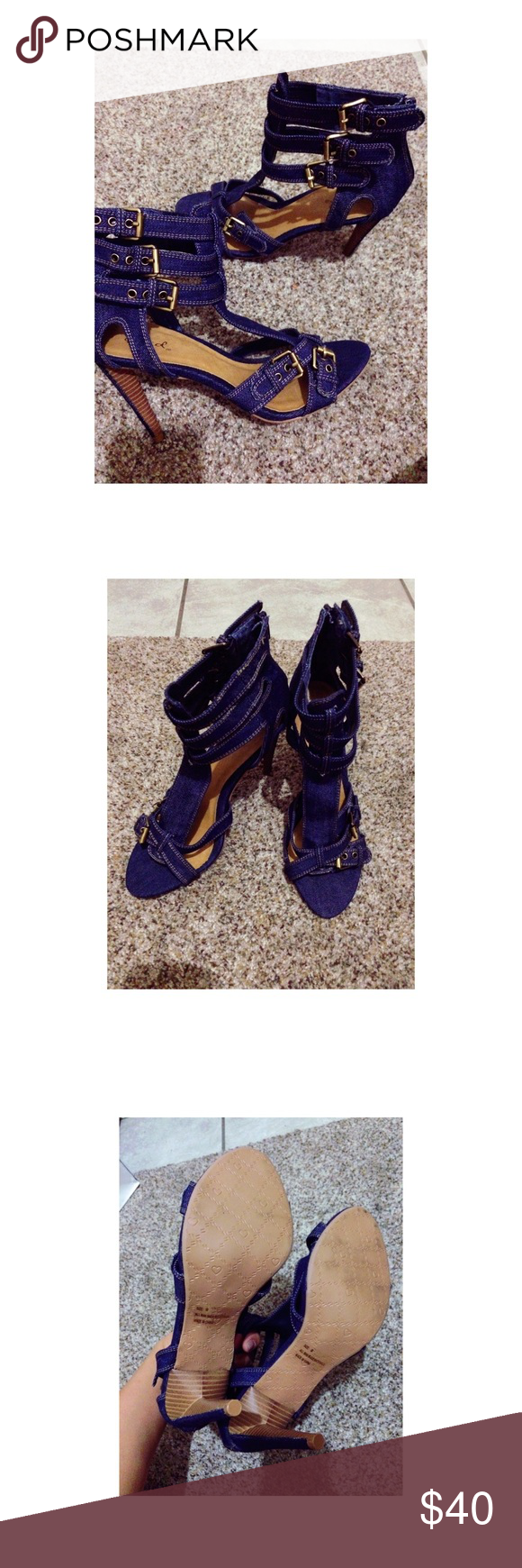 Buckled strappy Heels About 4 inches (not listed brand) only used once can fit sizes 9-10. Denim Material with bronzed buckles! 💕 perfect with jeans Zara Shoes Heels