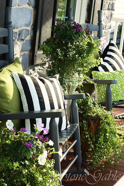Love the striped pillows and lime green! | Porch sitting ... on Black And White Patio Ideas id=25828