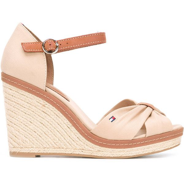 50e2a9687 Tommy Hilfiger buckled wedge sandals (€96) ❤ liked on Polyvore featuring  shoes