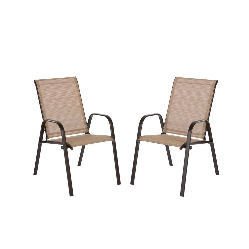 Hampton Bay Mix And Match Brown Stackable Sling Outdoor Dining Chair In Cafe 2 Pack Kts677k Cafe The Patio Dining Chairs Patio Dining Outdoor Dining Chairs