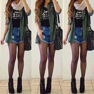 Tshirt high waisted shorts infiniti scarf tights booties oversized ...