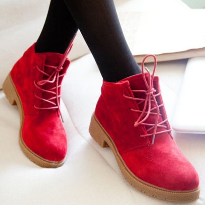 red ankle boots for women | ankle boots | Pinterest | Red leather ...