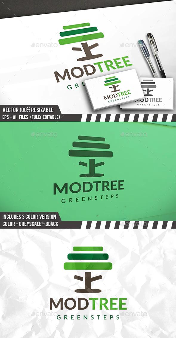 Tree Steps Logo Tree Logo Design Oak Tree Logo Design Green Logo Design