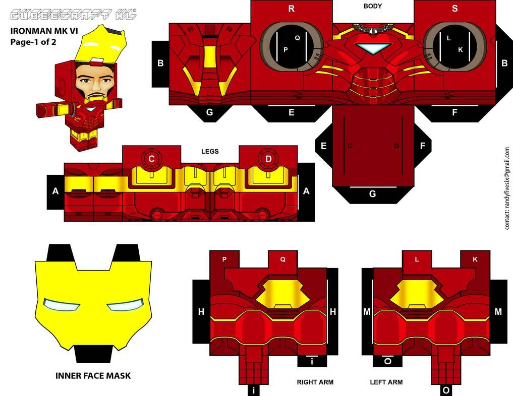 Ironman Cubeecraft Xl Pg 1 By Randyfivesix Iron Man Paper Toys Paper Toys Template