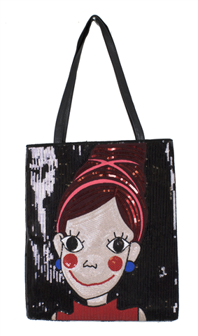 Sequined black bag with a face with makeup and big eyes and black handle on top - rose gold