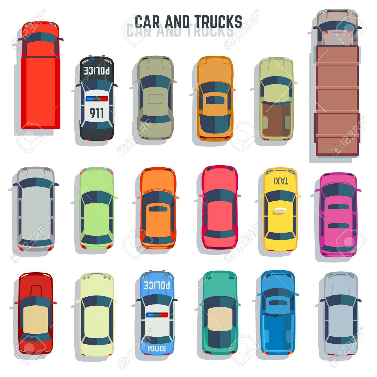 Cars and trucks top view flat vector icons. Set of car and