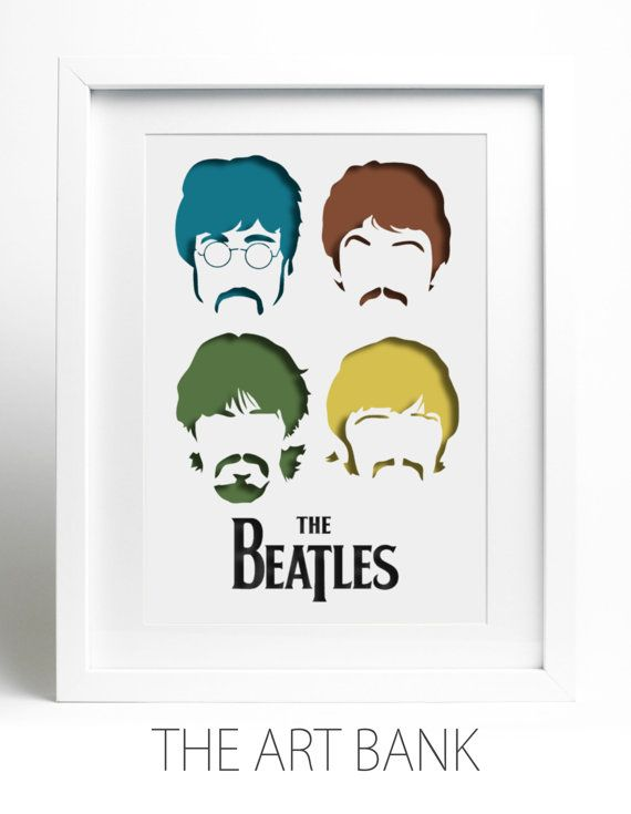 NEW FROM THE ART BANK: Framed Paper-cut The Beatles, layered paper-cut, fab four, four colours fan art