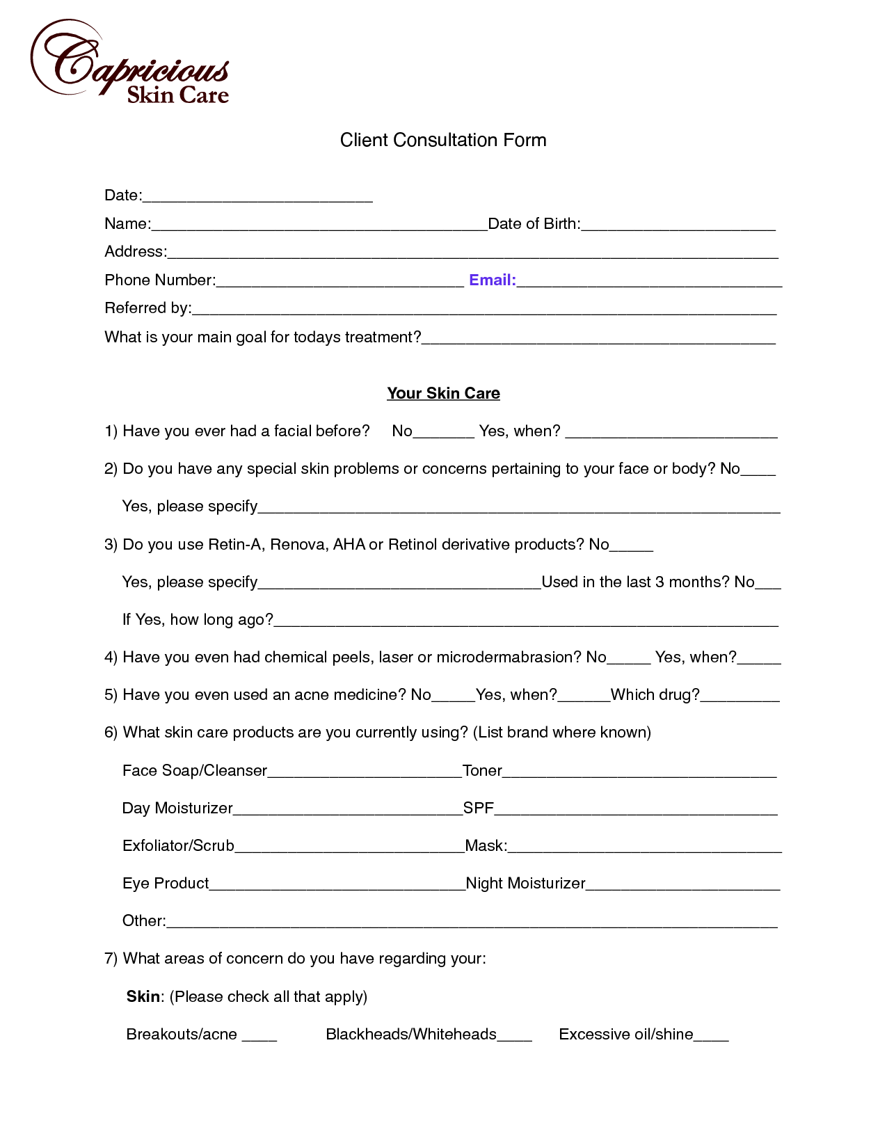 image chemical peel consultation form Client