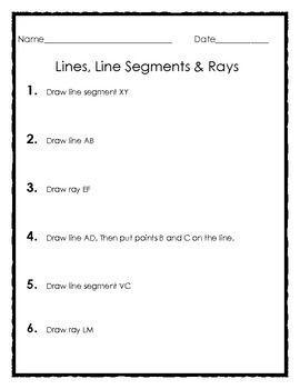 Worksheets Worksheets On Lines Segments And Rays elementary geometry drawing lines line segments and rays very simple straight forward worksheets that asks students to draw add the 2 4 given points
