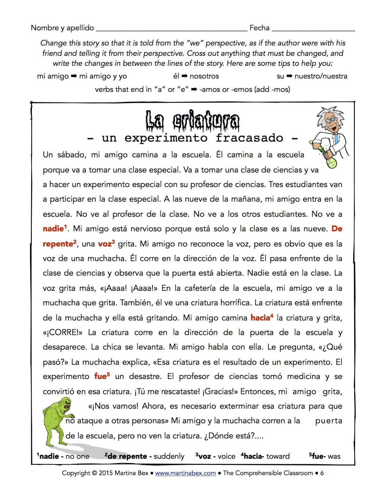 Teaching Other Verb Forms A Reading For Spanish 1 The Comprehensible Classroom Spanish Reading Comprehension Spanish Teaching Resources Spanish 1 [ 1604 x 1240 Pixel ]