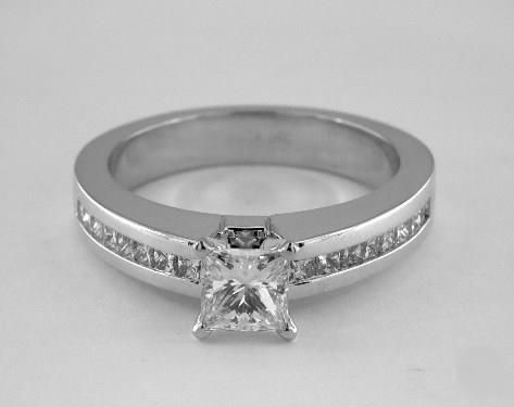 .7ct Channel Set Princess Engagement Ring White Gold