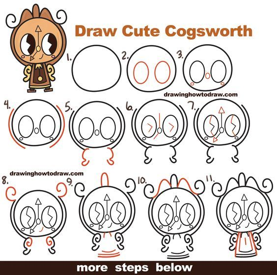 How To Draw Cute Kawaii Chibi Cogsworth The Clock From Beauty And