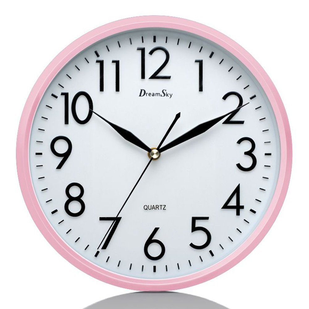 Dreamsky 10 Silent Wall Clock Battery Operated Nonticking Decorative Indoor Kitchen Round Clock 3d Numbers Display Nice Pink Wall Clock Clock Retro Wall Clock