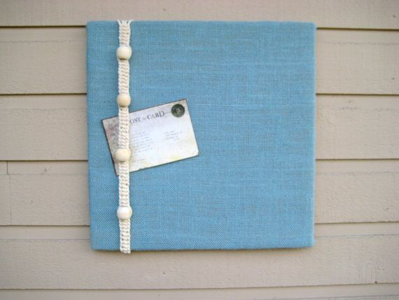 Bulletin Board in Burlap with knotted Macrame cord and wood beads,nautical designed memo board for your kitchen or office