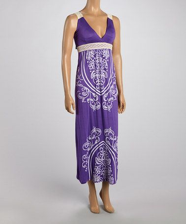 Another great find on #zulily! Purple Tapestry Lace-Strap Maxi Dress #zulilyfinds