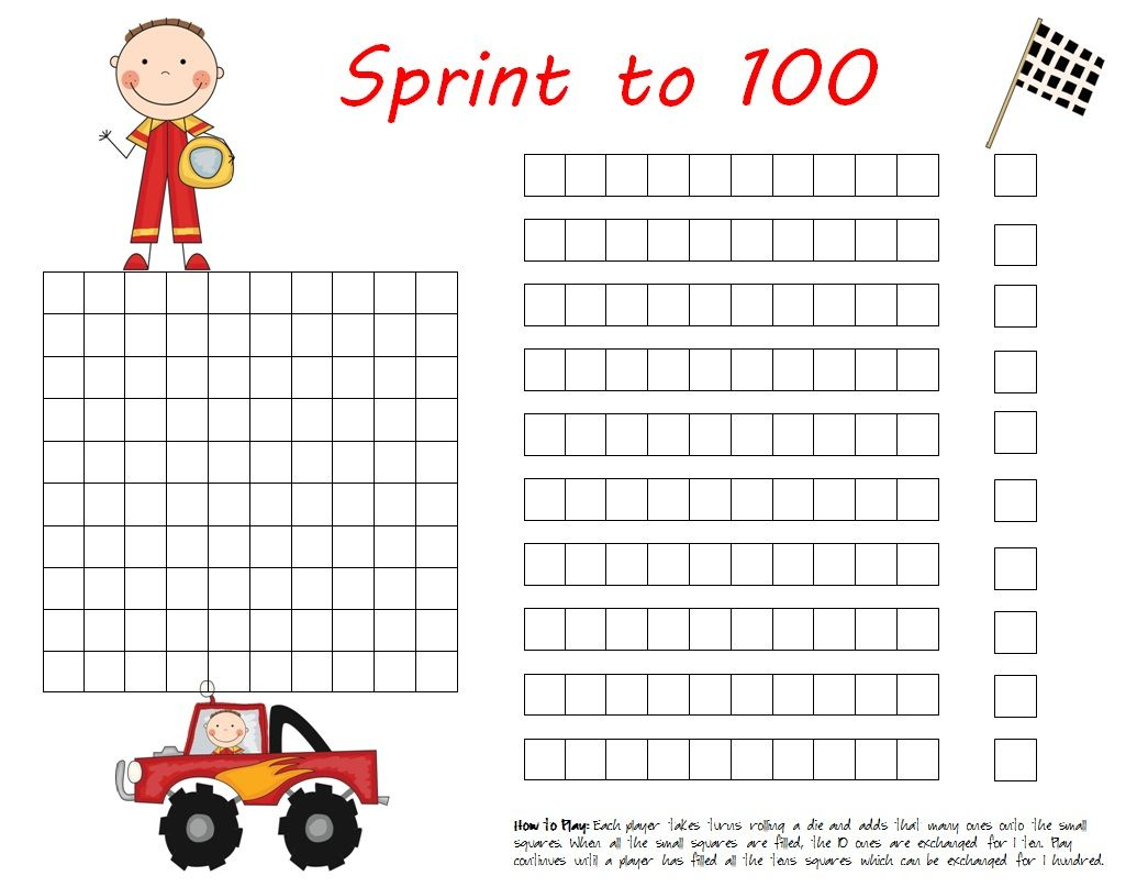 Freebie Sprint To 100 Place Value Game
