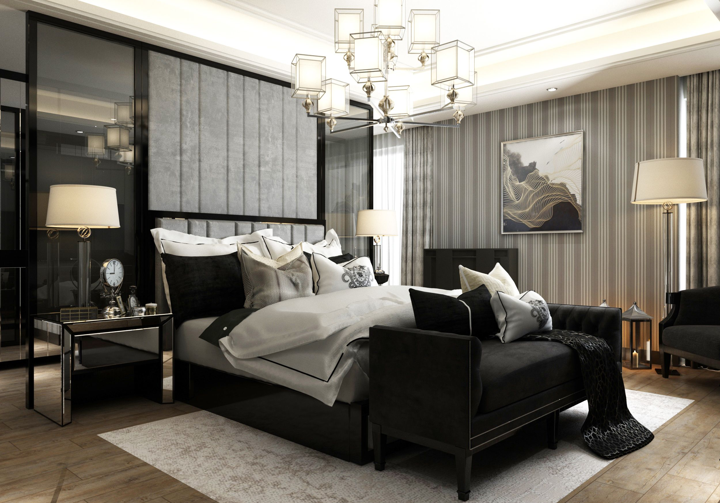 Black & Grey Master Bedroom Interior And Furniture Design