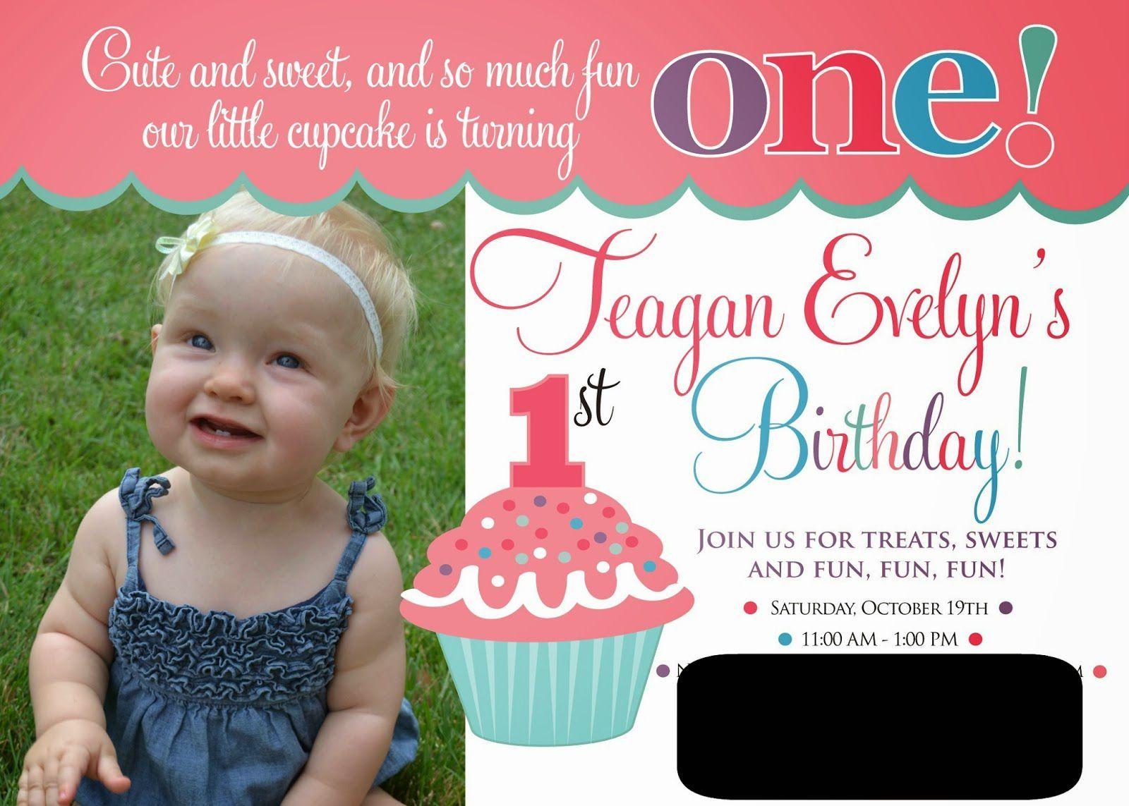 cupcake themed 1st birthday invitations | birthday invitations ...