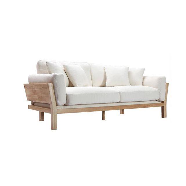 canap design 3 places blanc crme pieds bois kyo - Pied De Canape Design
