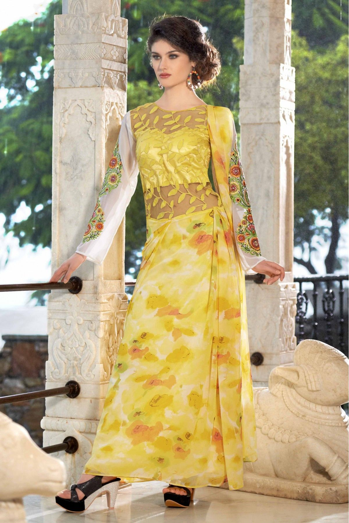 d28ef76028f4 Yellow Colour Georgette Fabric Designer Semi Stitched Flower Printed Gown  Comes With Matching Dupatta. This