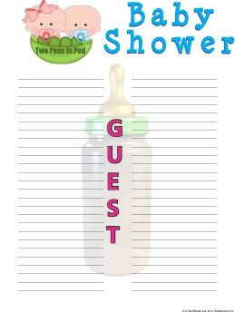photo about Baby Shower Sign in Sheet Printable called Free of charge 2 Peas within a Pod Kid Shower Visitor Signal-inside of Sheet