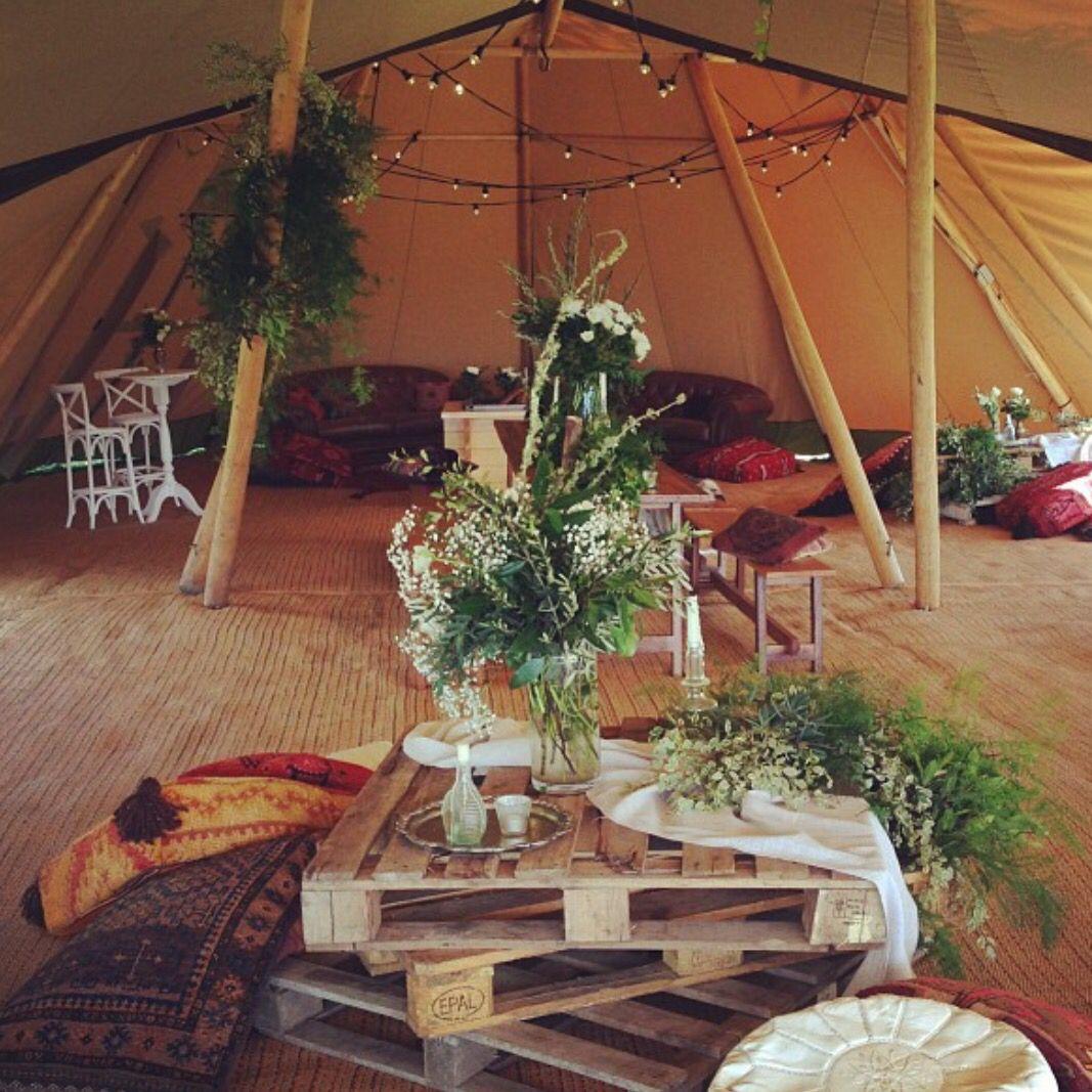 Wedding tipi decor
