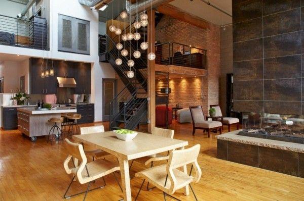 küchen ideen industrielle einrichtung holzmöbel heller bodenbelag - Küche Einrichten Ideen