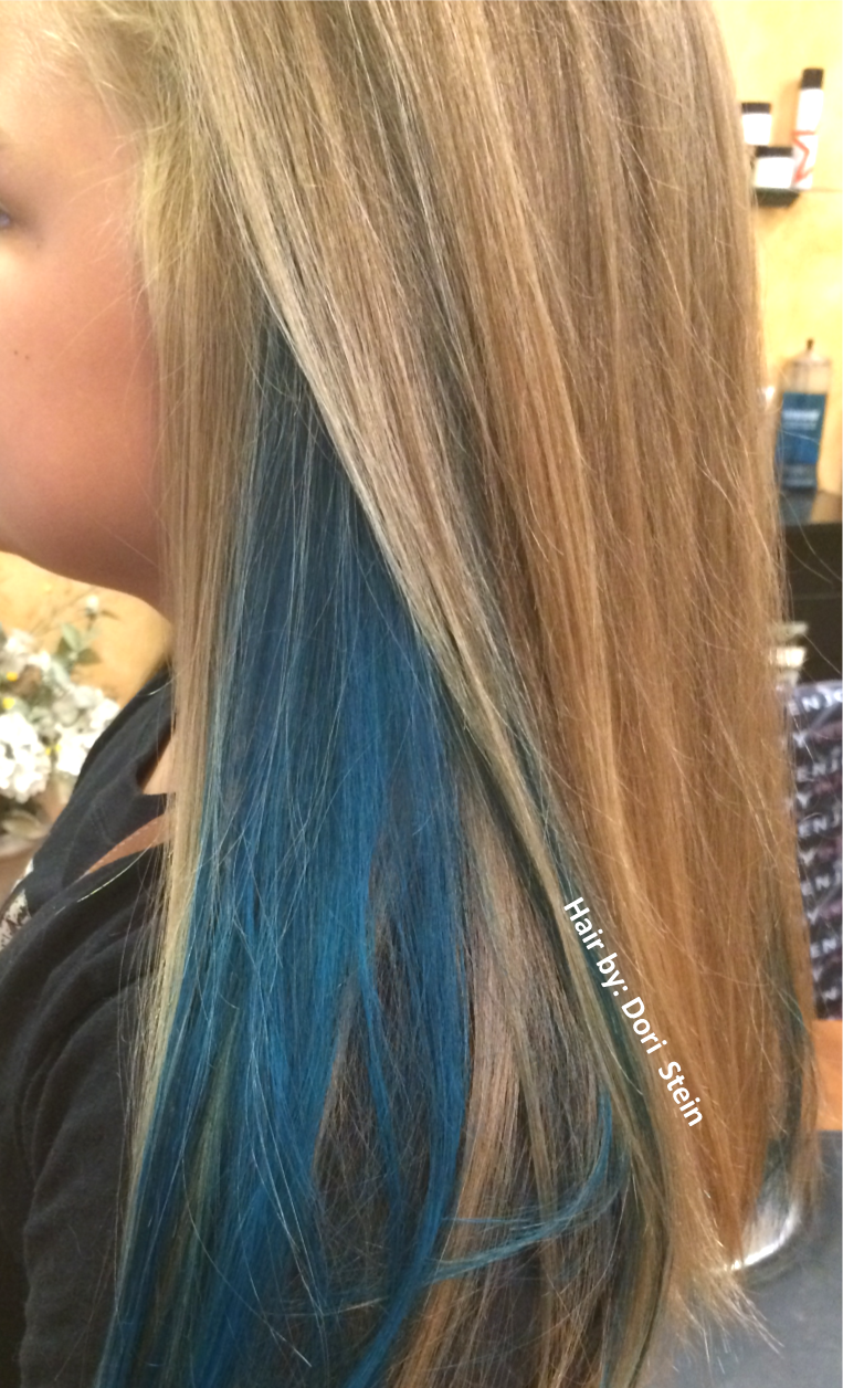 blue hair with natural blonde hair. gorgeous teal hair with