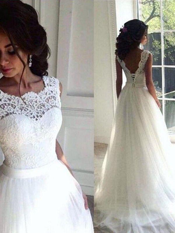 Photo of 2019 A-Line Lace Tulle Bateau Brush Train Wedding Dresses