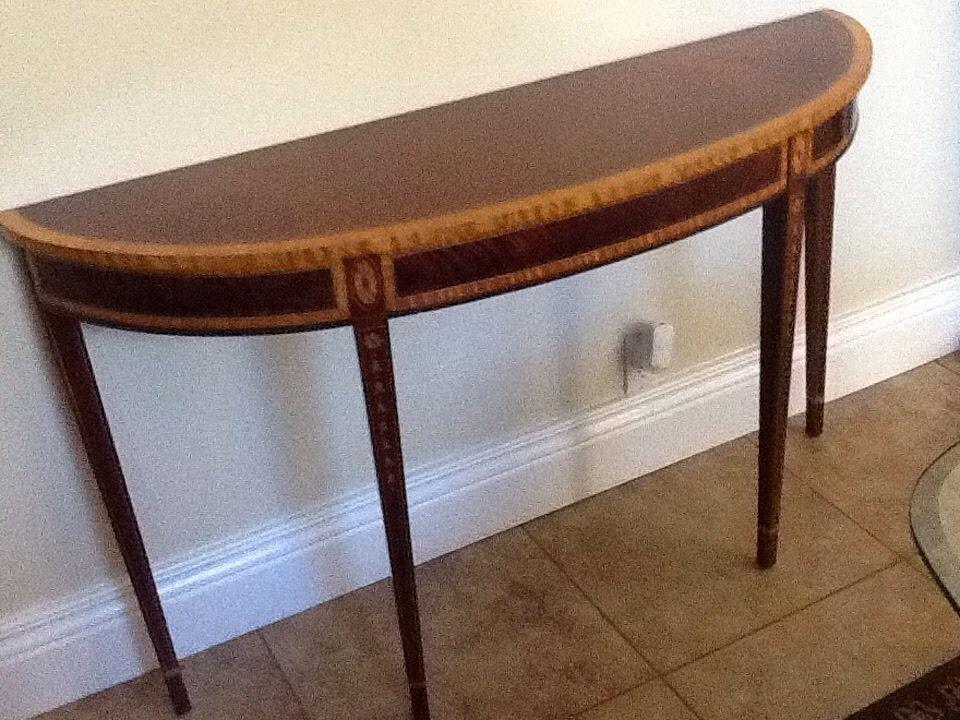 28035e Councill Craftsman 1 2 Round Inlaid Mahogany Console Table