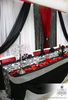 Damask black red and white wedding ceremony and reception decor in damask black red and white wedding ceremony and reception decor in london ontario junglespirit Gallery