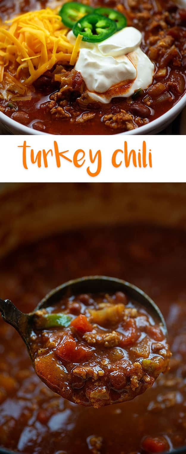 Lightened up turkey chili! This healthy chili recipe is hearty and filling! #turkeychilirecipe #chili #chilirecipe
