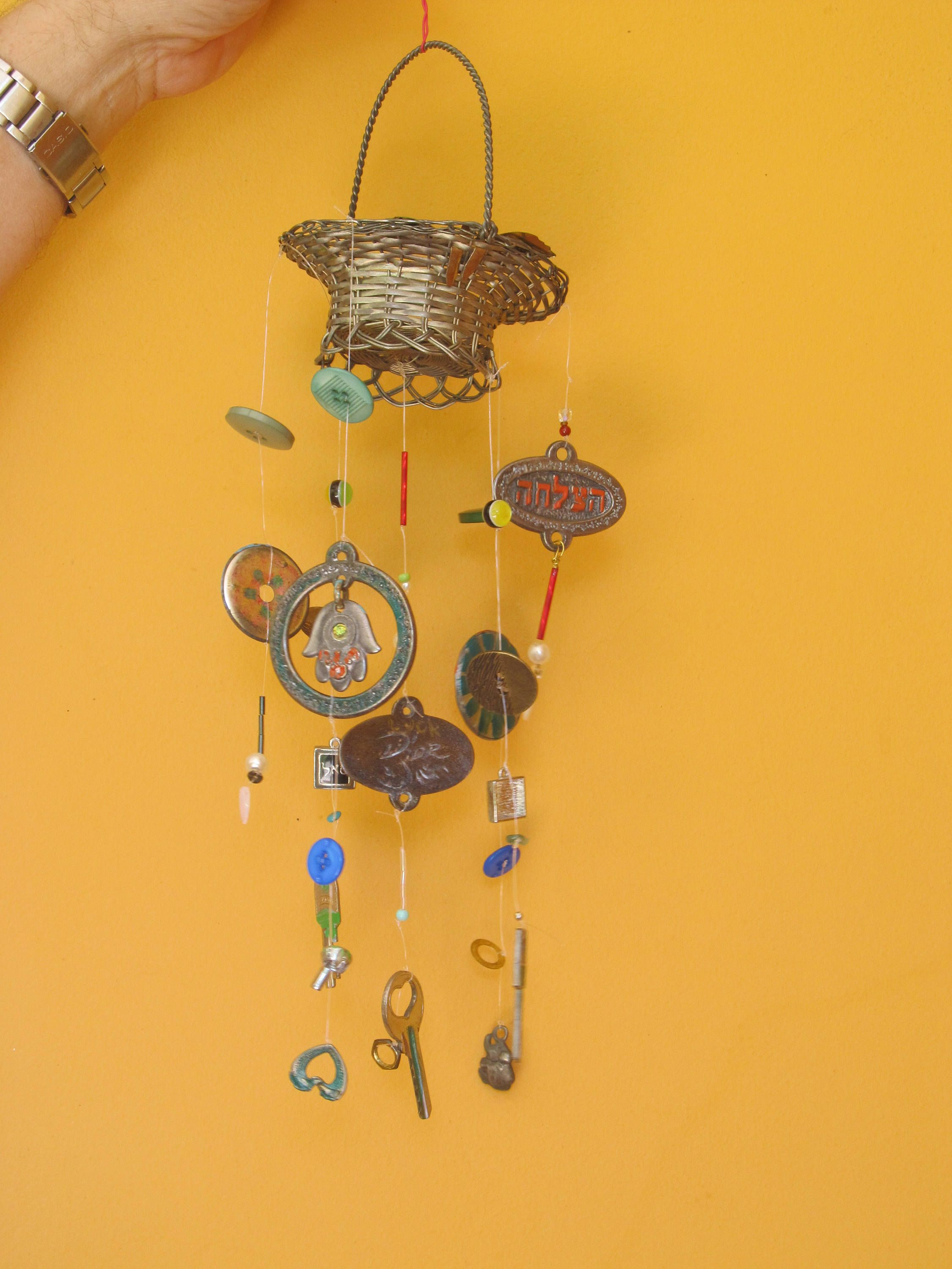 Wind Chime With Metal Basket. Small Recycled Art Hanging Decor ...