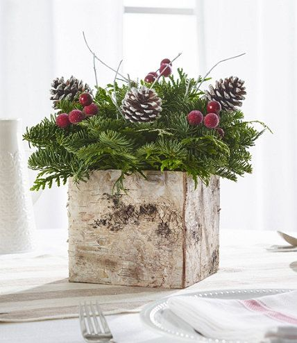Birch Box Centerpiece In 2020 Christmas Table Decorations Holiday Centerpieces Christmas Floral Arrangements