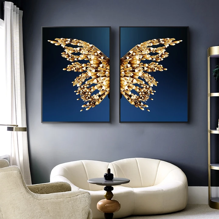 Modern Golden Butterfly And Wings Canvas Painting Wall Decor Wall Art Pictures Abstract Wall Art Canvas Painting Diy